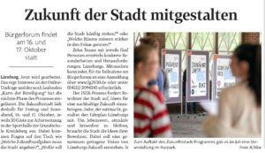Die Landeszeitung Lüneburg kündigt das ISEK Bürgerforum an.