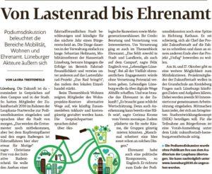 Nachbericht der Lüneburger Landeszeitung zur Leuphana Podiumsdiskussion mit der Zukunftsstadt